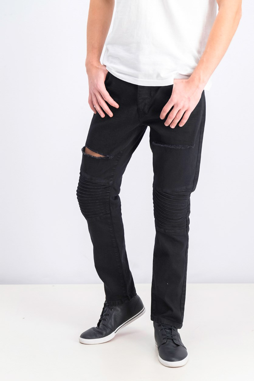 Men's Skinny Fit Ripped Leg Biker Jeans, Black