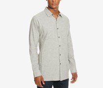 Kenneth Cole Men's Two Pocket Heathered Shirt, Gray