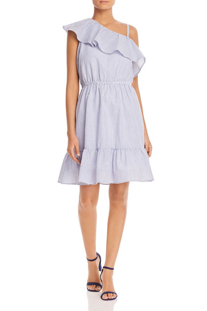Womens Sear Sucker Ruffled One Shoulder Casual Dress, Blue/White