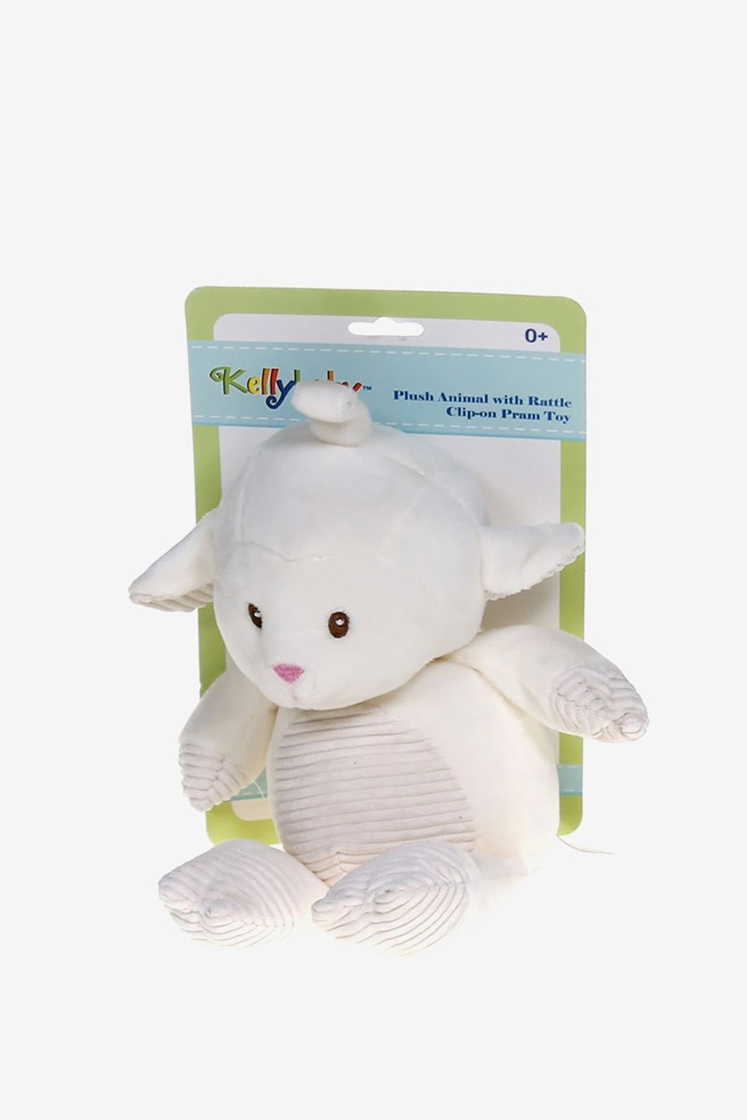 Plush Rattle Clip-on Pram Toy, Ivory