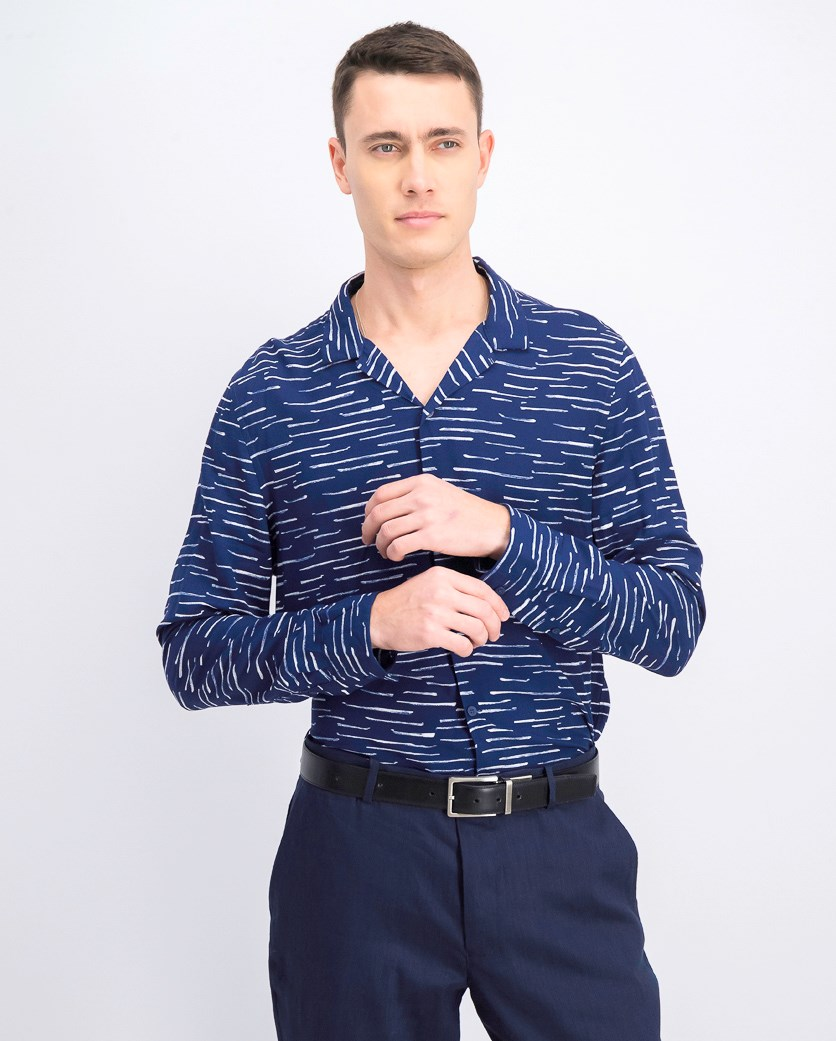 Men's Casual Rayon Shirt, Navy