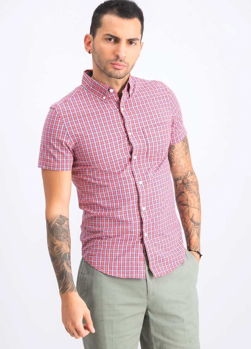 Men's Short Sleeve Stretch Shirt, Coral/Blue