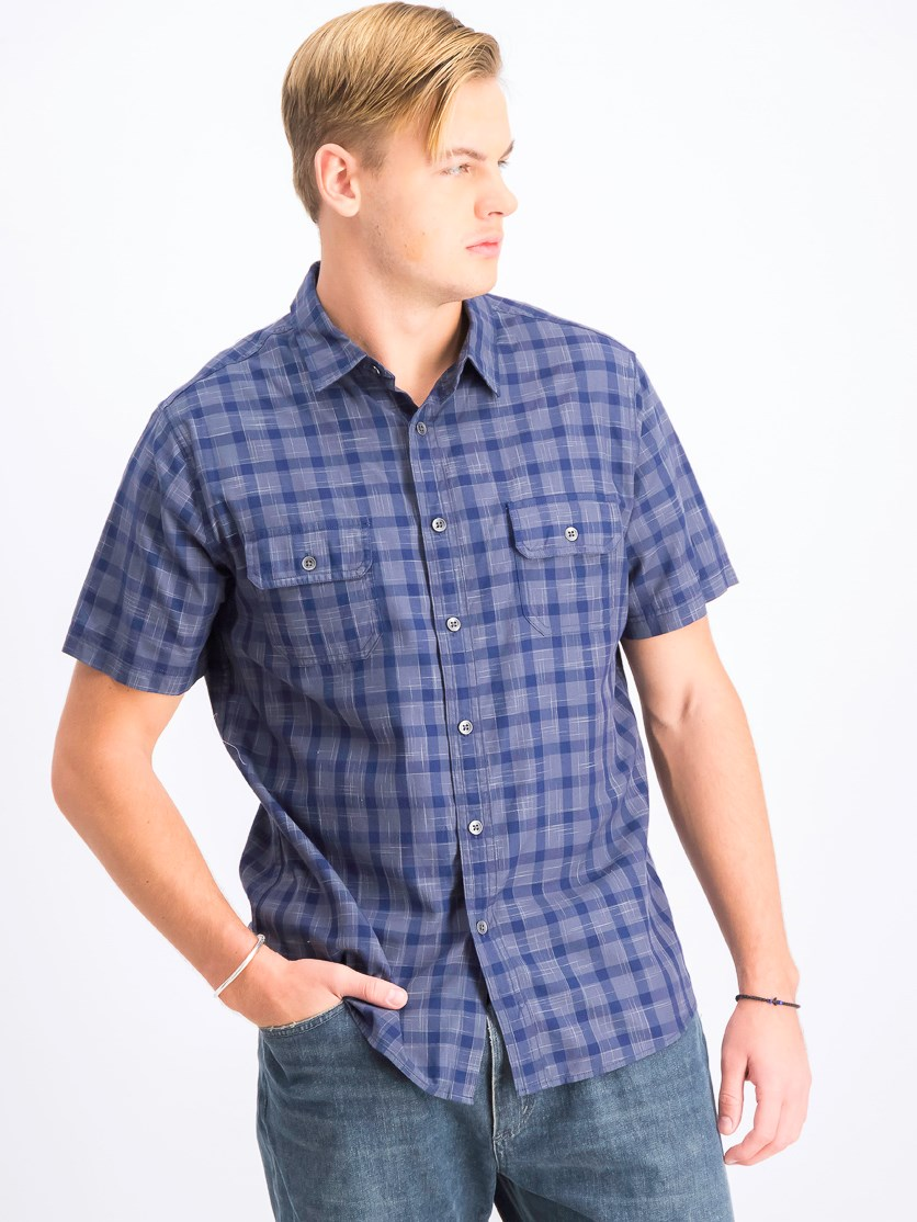 Men's Short Sleeve Shirt, Grey/Navy