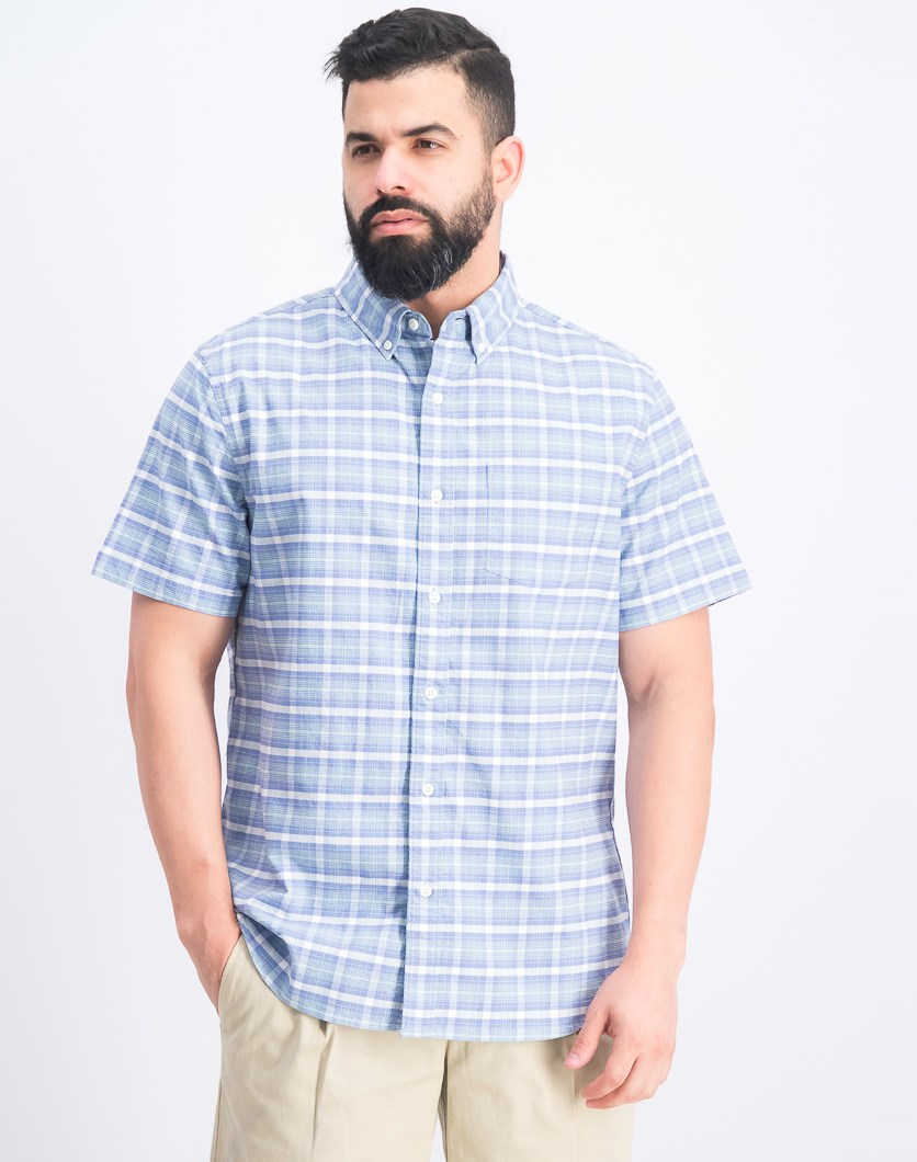 Men's Slim Fit Plaid Shirt, Blue
