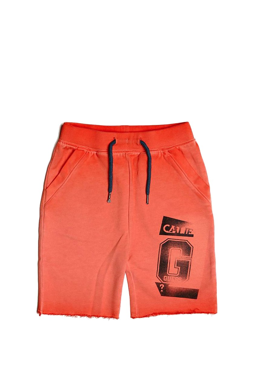 Toddler Boys Washed Drawstring Short, Washed Orange