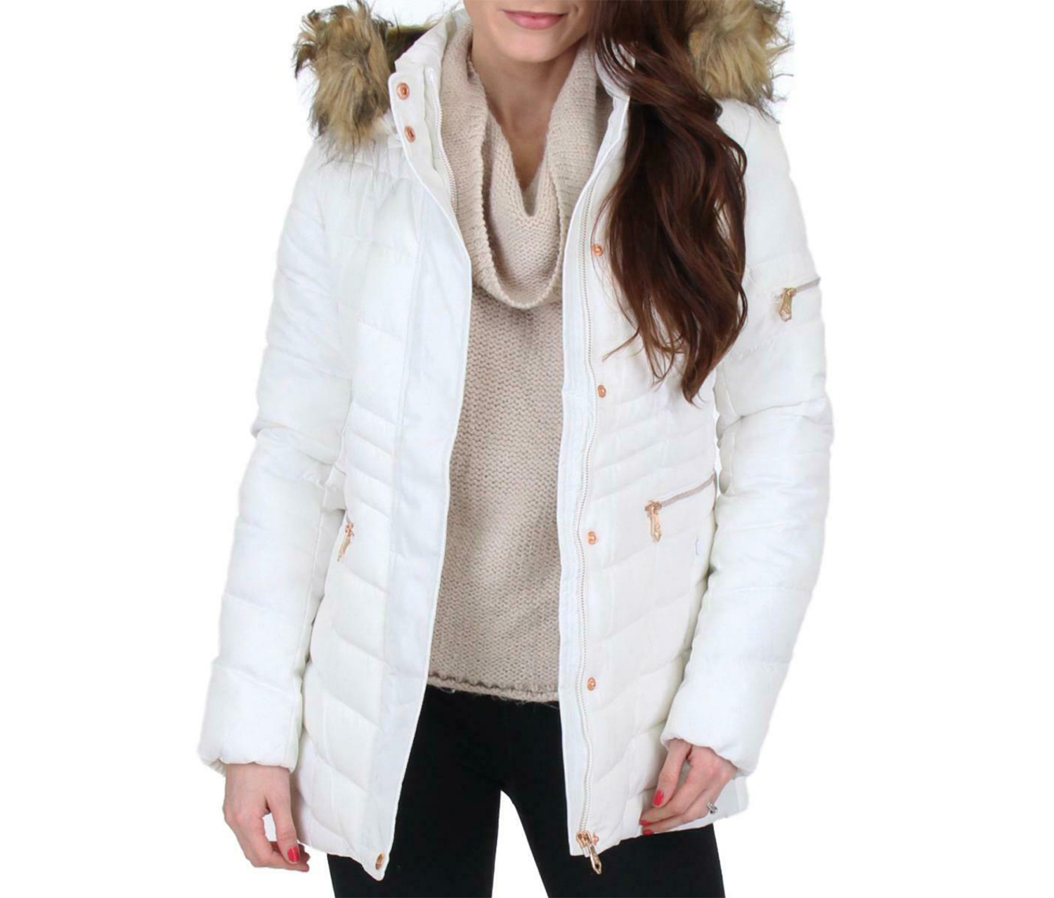 Nanette Lepore Women's Quilted Faux Fur Trim Puffer Coat, White