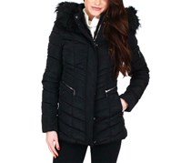 Nanette Lepore Women's Quilted Faux Fur Trim Puffer Coat, Black
