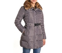 Nanette Lepore Belted Faux Fur Collar Puffer Jacket, Med Gray