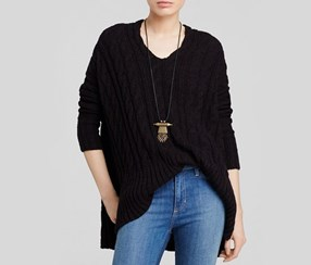 Free People Cabled V Neck Sweater, Black