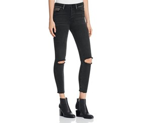 Free People Women's Studded Ankle Skinny Jeans, Black