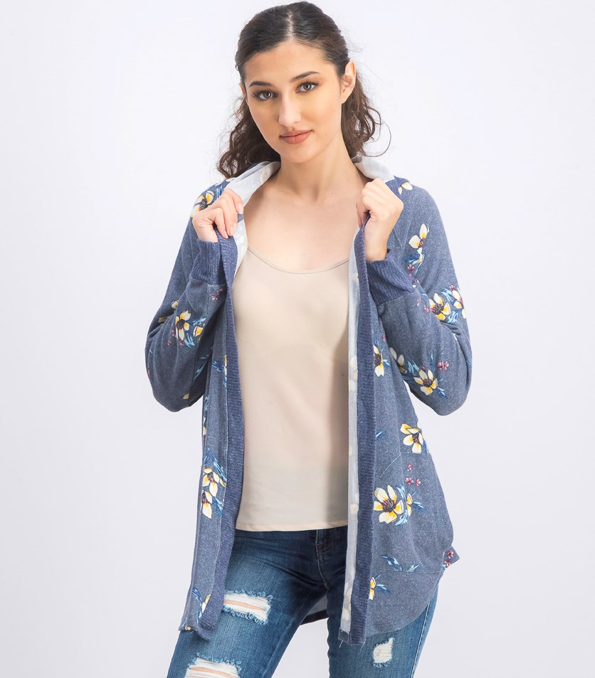 Women's Floral Print Hoodie Sweater, Blue