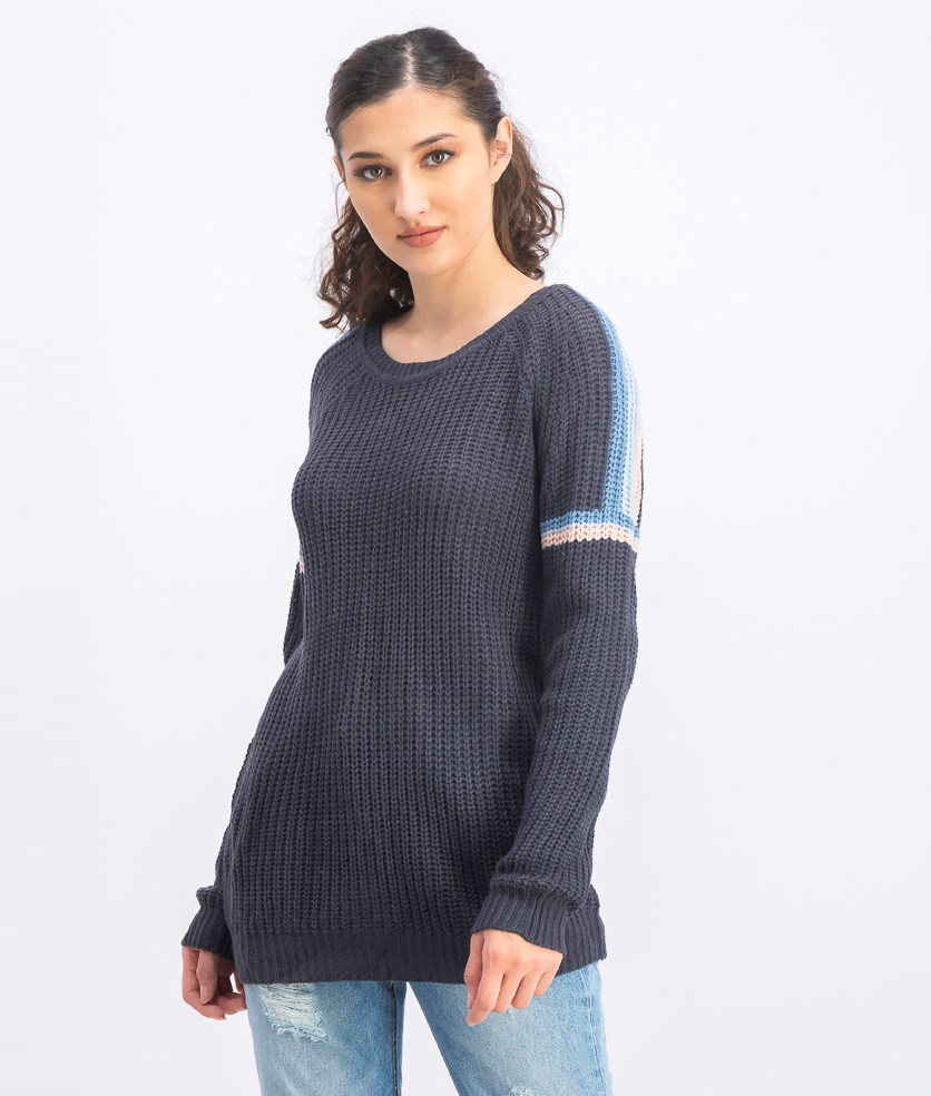 Women's Striped Shoulder Sweater, Dark Grey