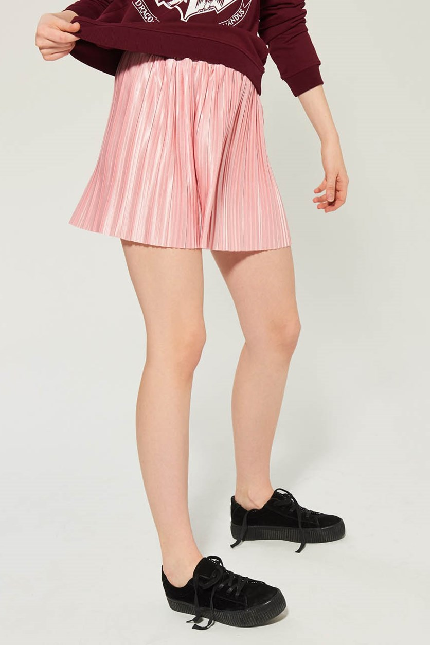 Women's Pull-On Pleated Skirt, Pink