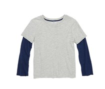 Splendid Little Boy Washed Baseball Tee, Gray/Navy