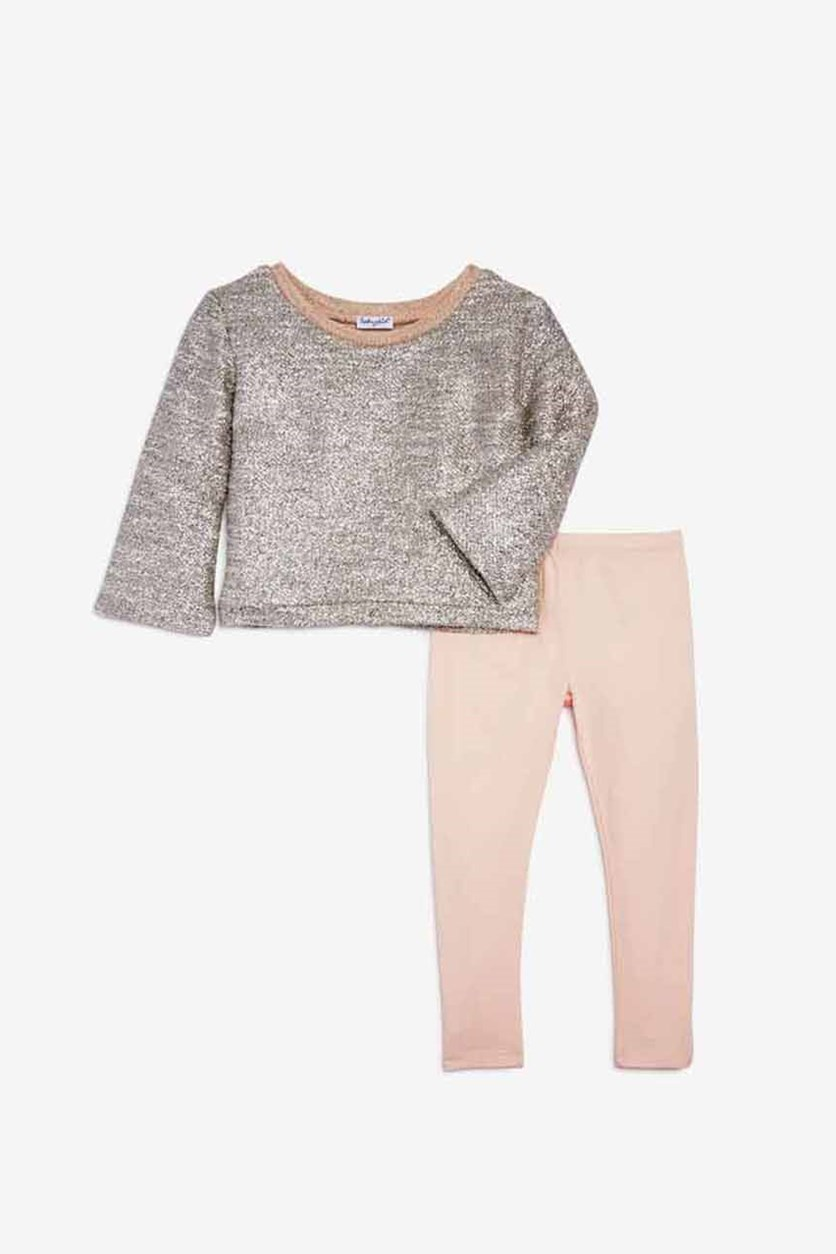 Girls' Metallic Knit Top & Solid Leggings Set, Pale Dogwood