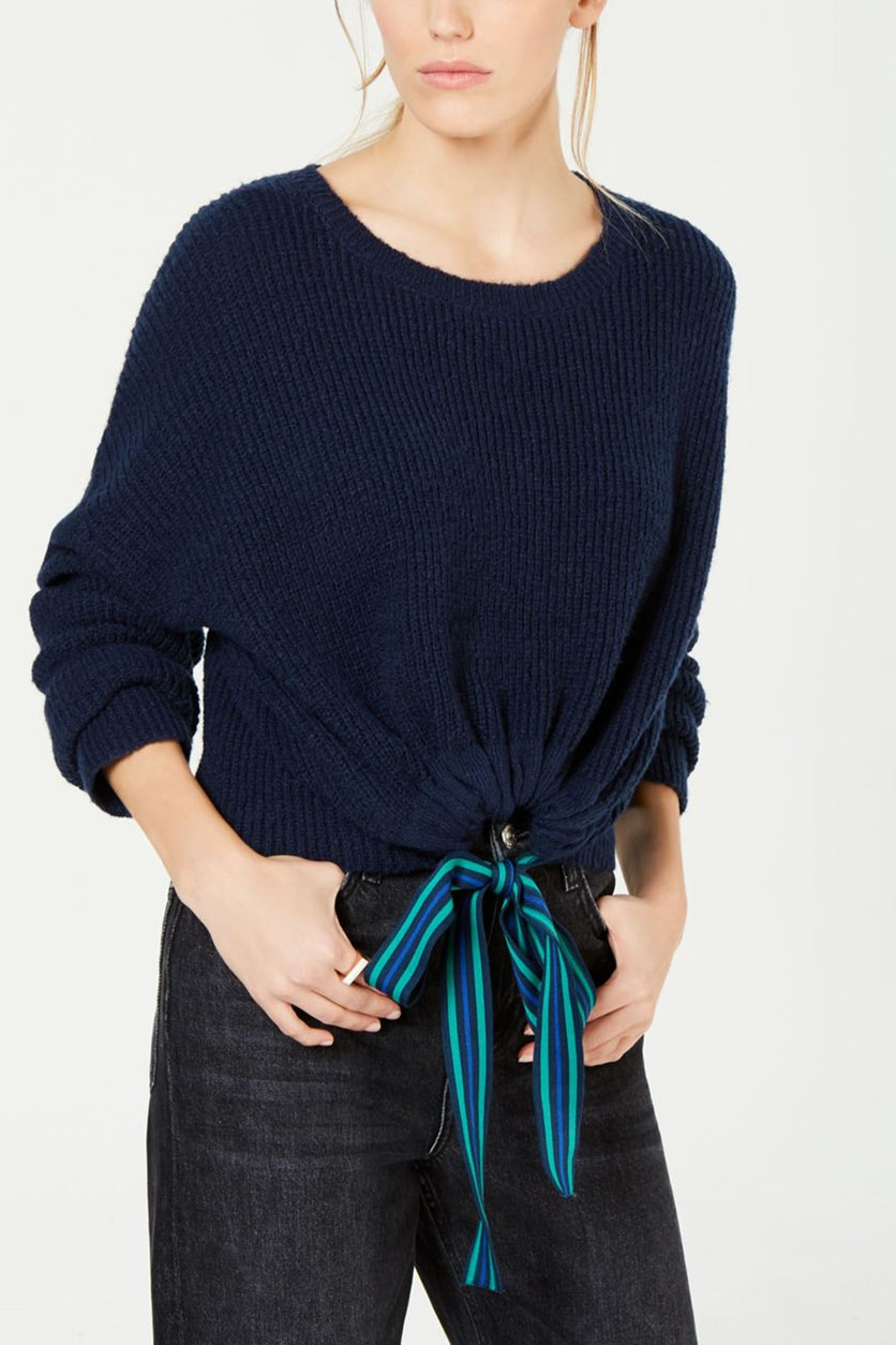 Juniors' Ribbon-Tie Cropped Sweater, Navy