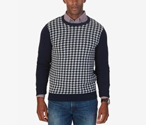 Nautica Men's Colorblocked Houndstooth Sweater, Navy