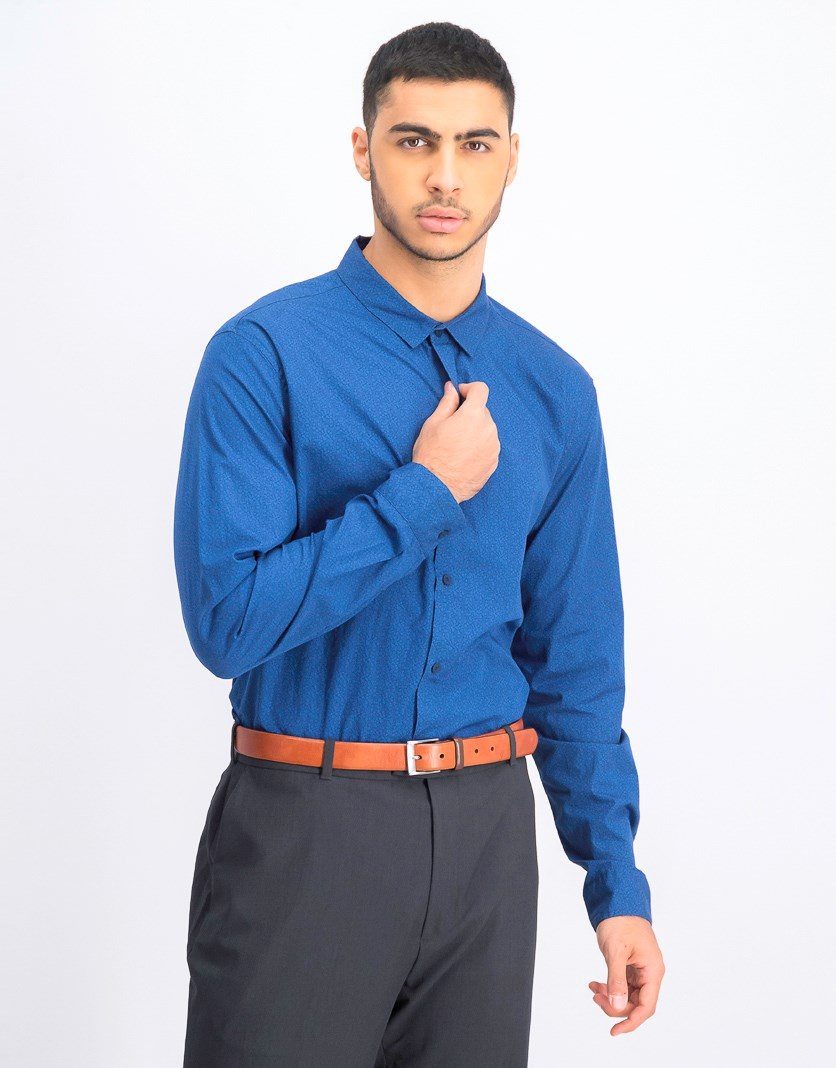 Men's Long Sleeve Casual Shirt, Navy