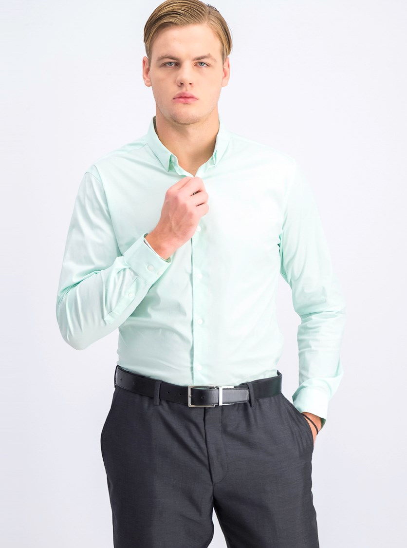 Men's Slim Fit Long Sleeve Casual Shirt, Light Green