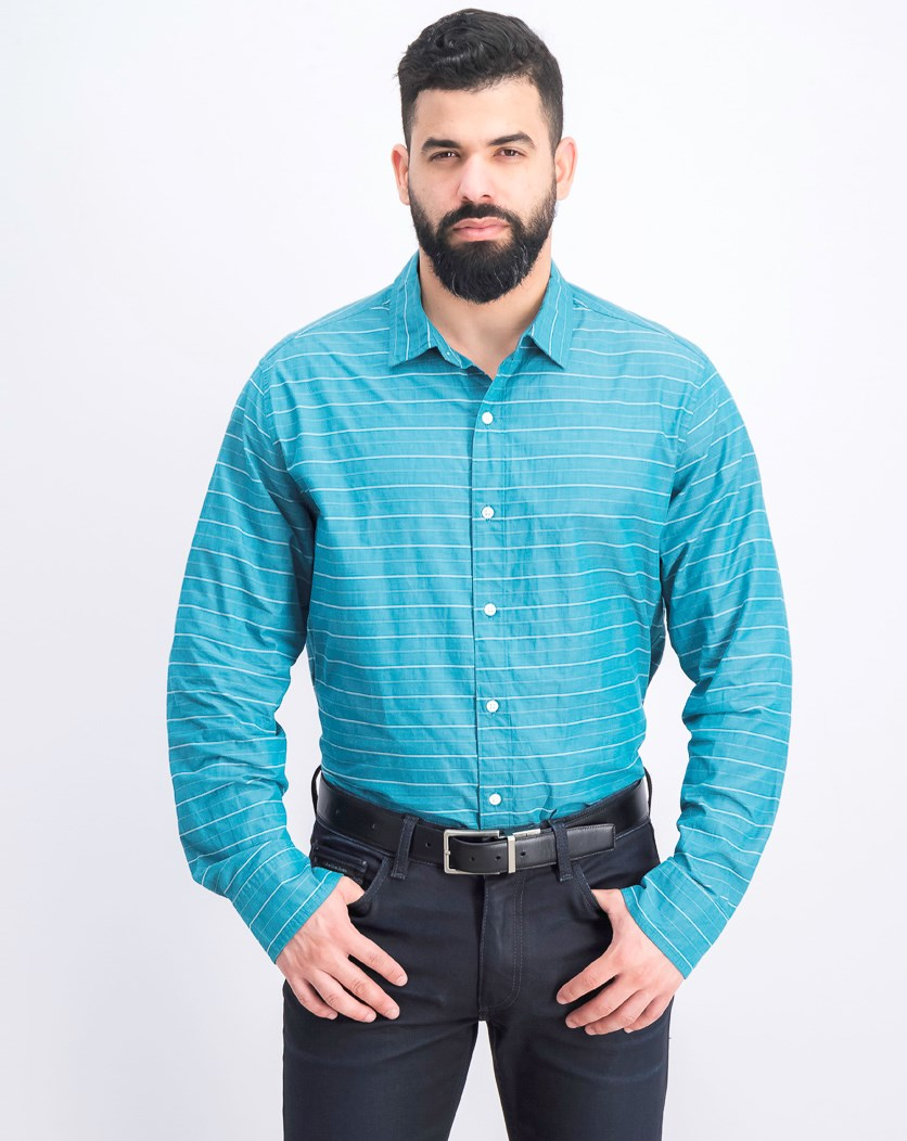 Men's Regular Stripe Shirt, Teal