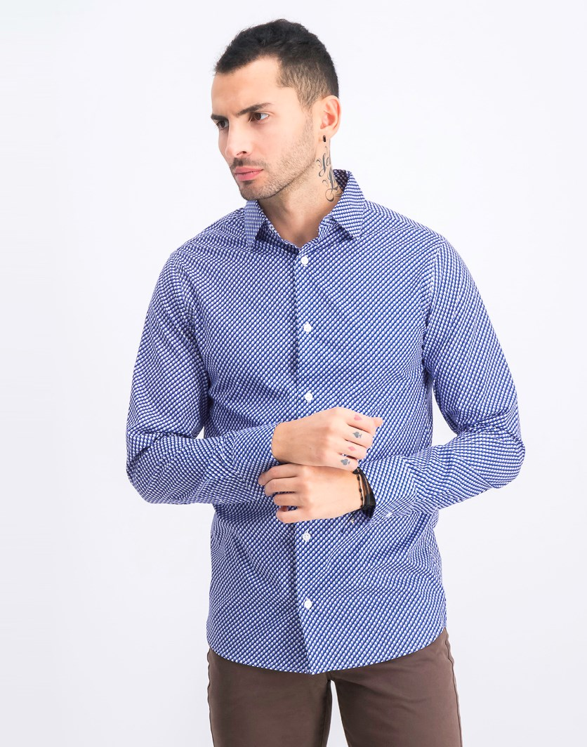 Men's Longsleeve Slim Fit Shirt, Purple Combo