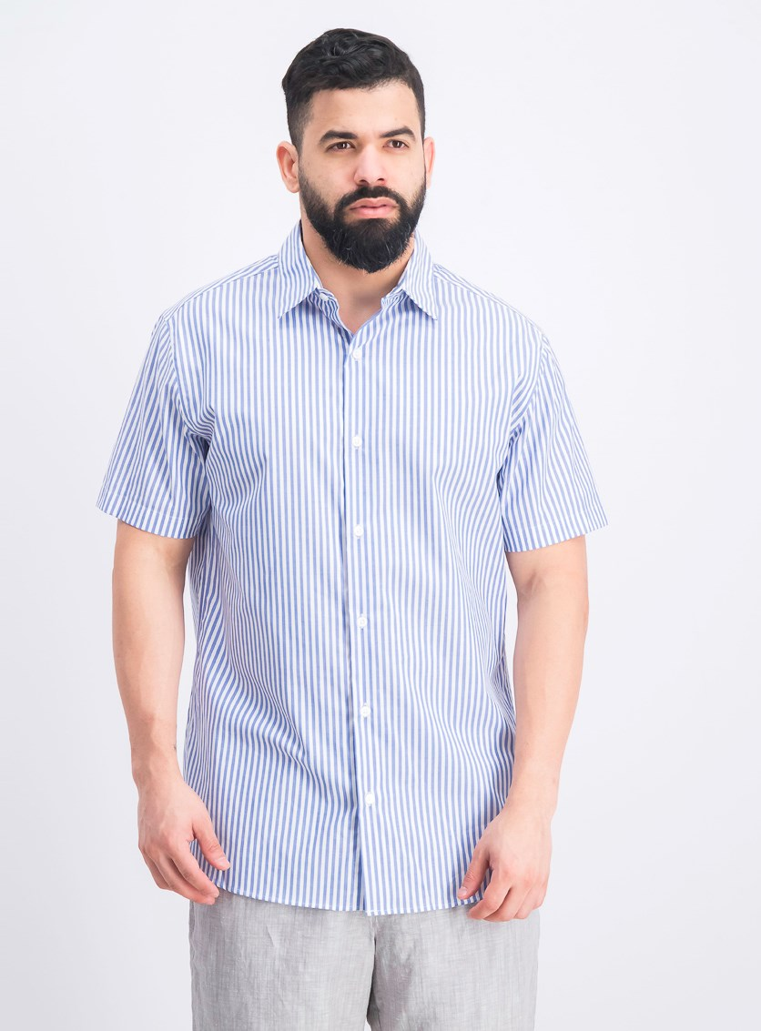 Men's Slim Stripe Button Down Shirt, Blue/White