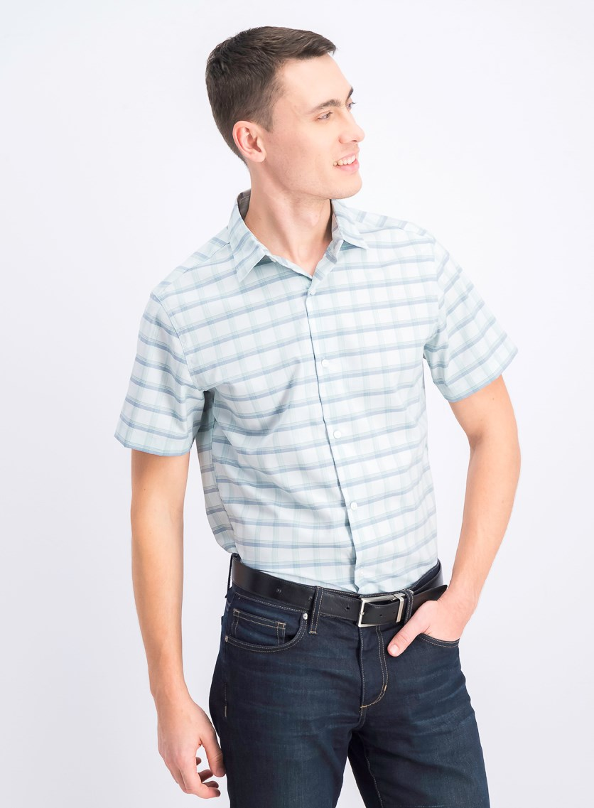 Men's Plaid Casual Shirt, Light Turquoise/Navy