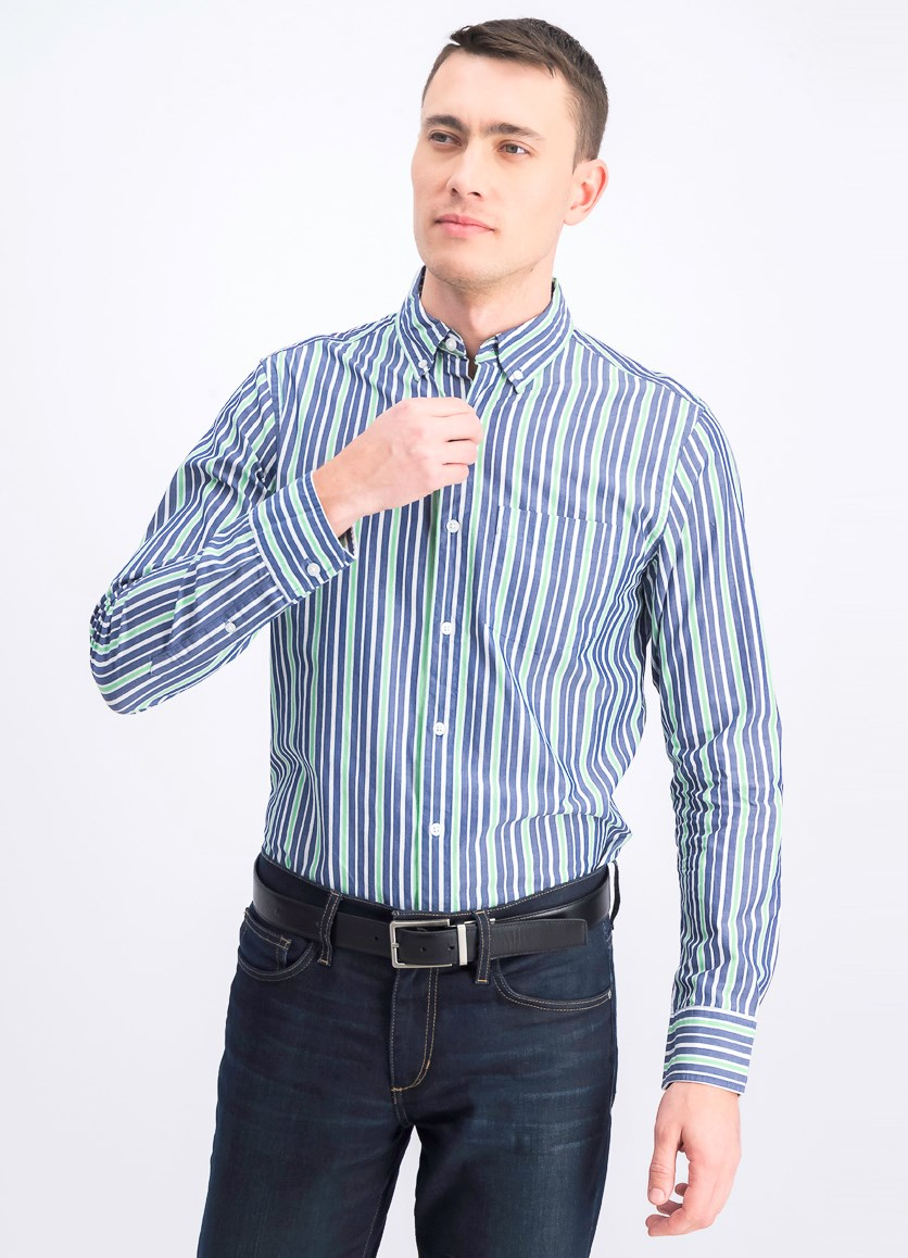 Men's Stripe Slim Fit Casual Shirt, Navy/Green