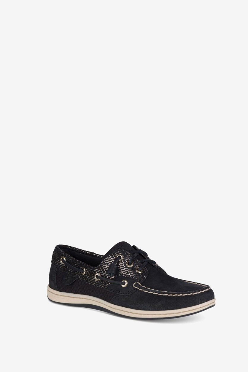 Women's Song Fish Boat Shoes, Black