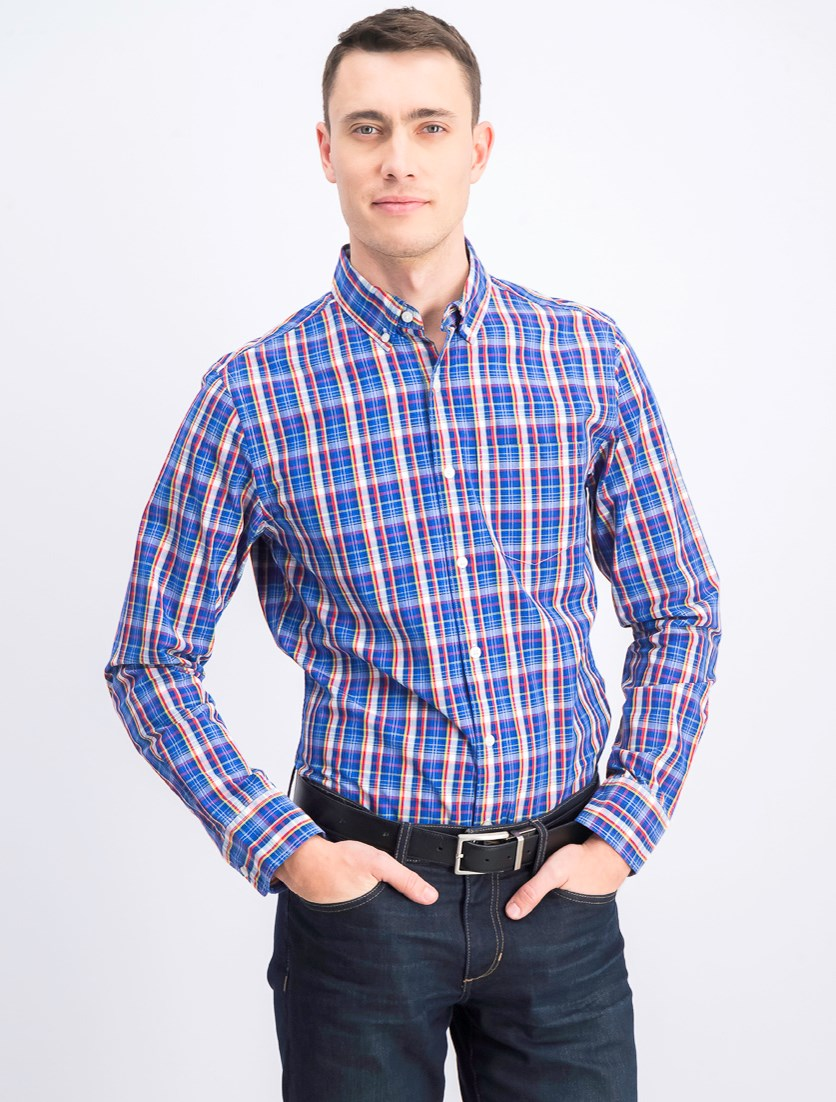Men's Plaid Casual Shirt, Blue Combo