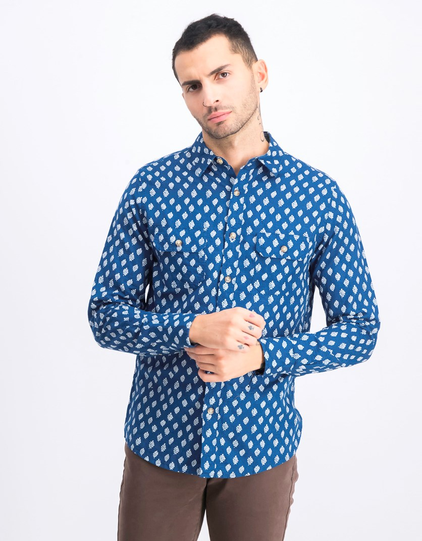 Men's Slim Casual Shirt, Blue/White