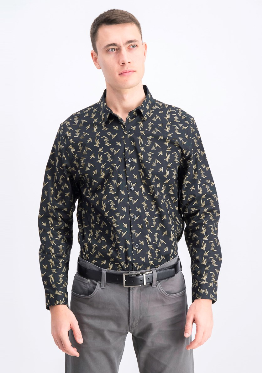 Men's Printed Button Down Shirt, Black Combo