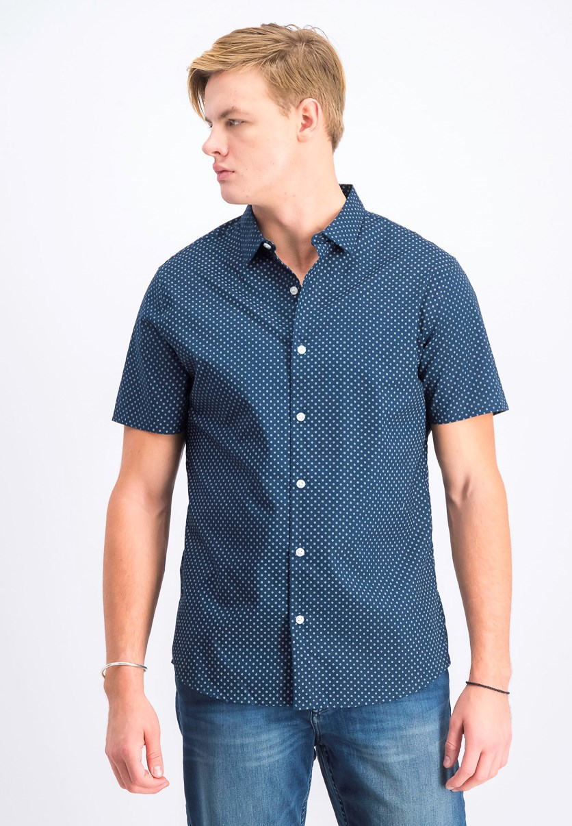 Men's Short Sleeve Casual Shirt, Navy
