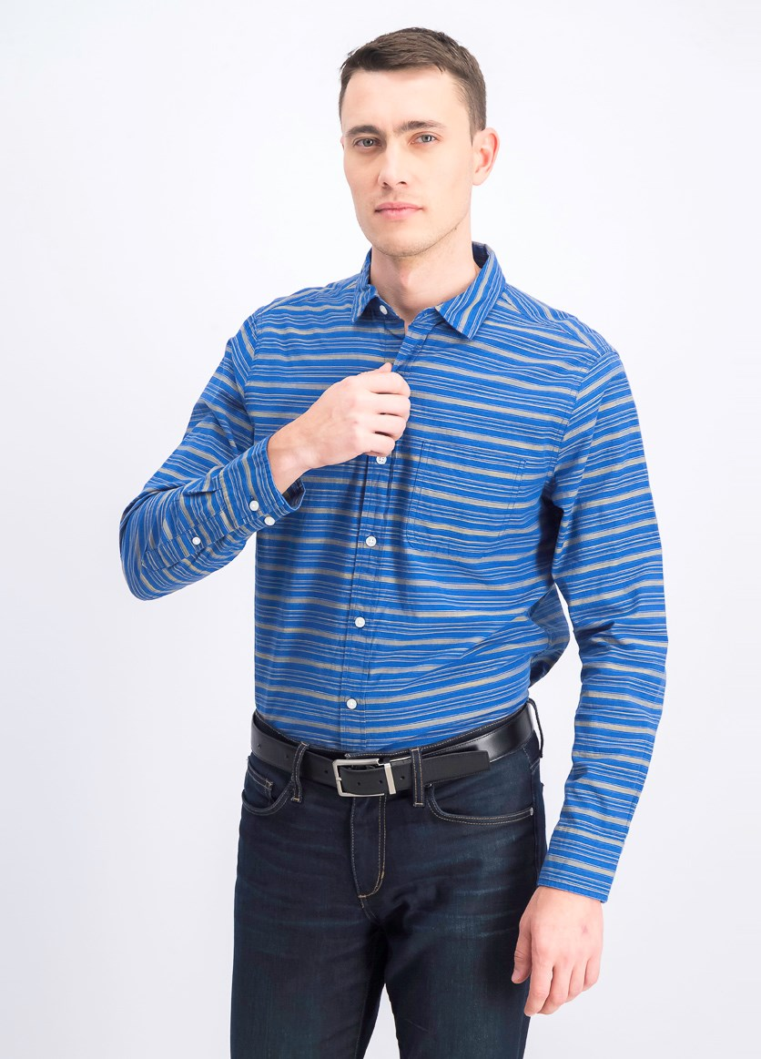 Men's Long Sleeve Slim Fit Casual Shirt, Blue