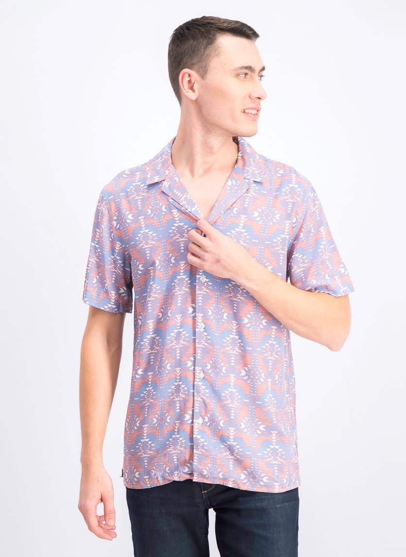 Men's Textured Slim Fit Casual Shirt, Blue/Pink/White