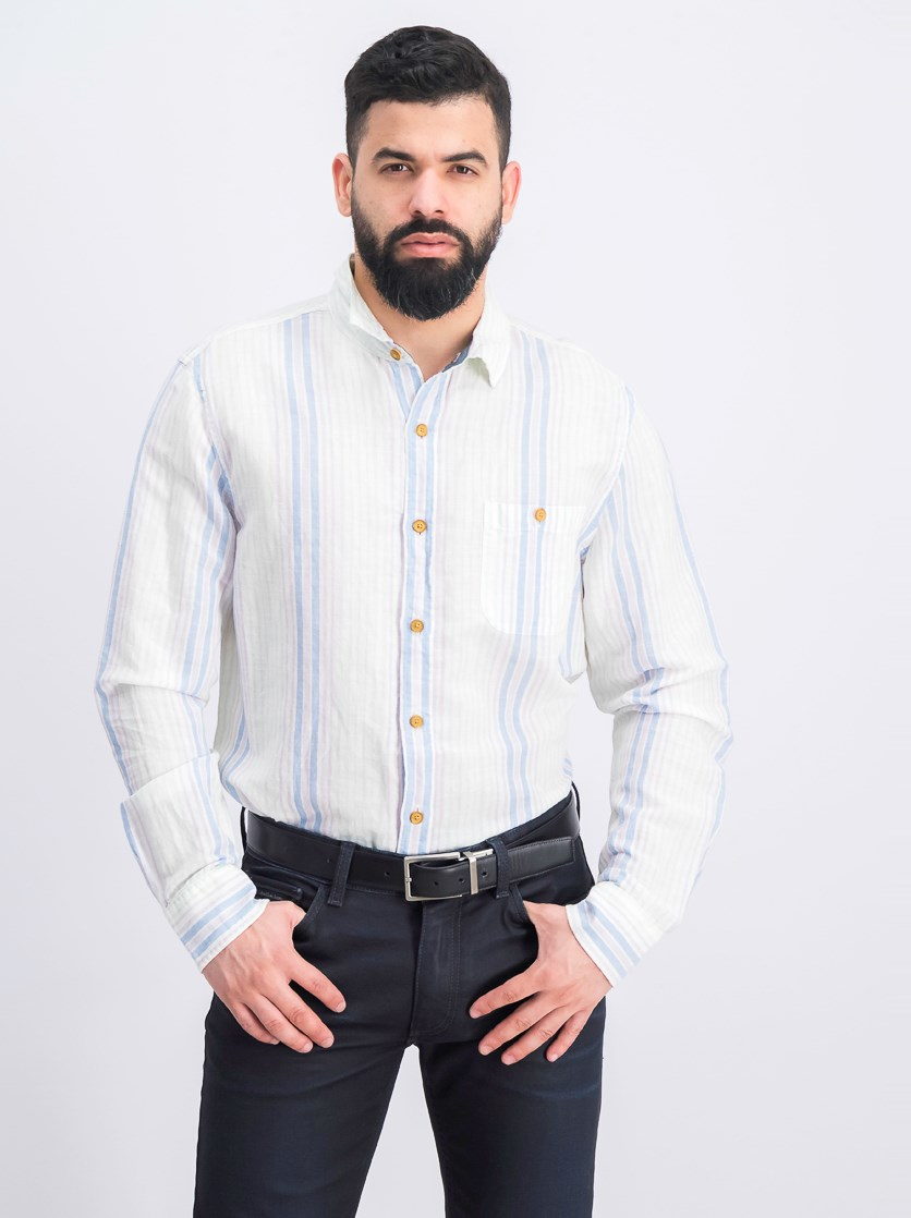Men's Slim Fit Stripe Shirt, White Combo