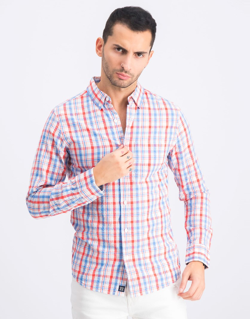 Men's Longsleeve Slim Casual Shirt, Red/Blue Combo