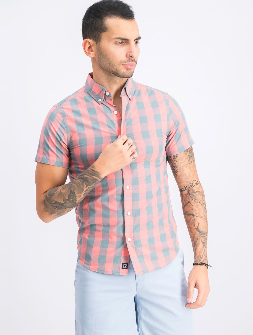 Men's Plaid Casual Shirt, Orange/Teal