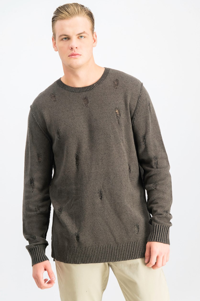 Men's Salamander Distressed Sweater, Olive