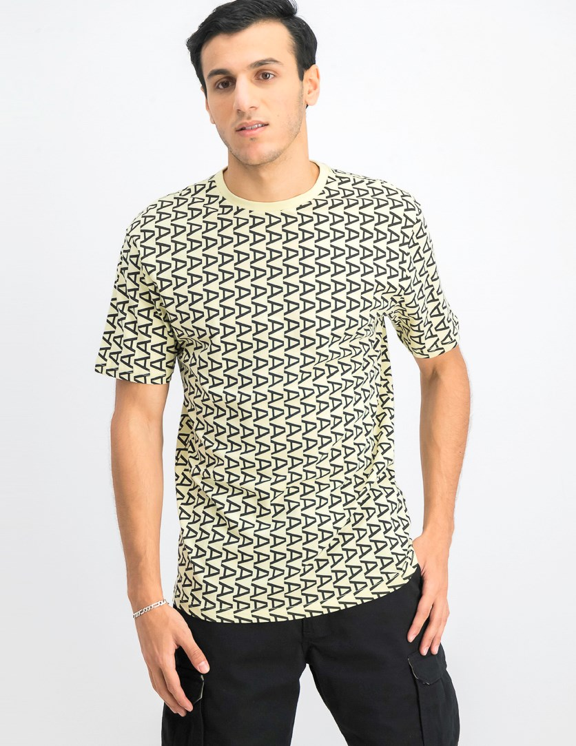 Men's All Over Print Shirt, Light Yellow/Black
