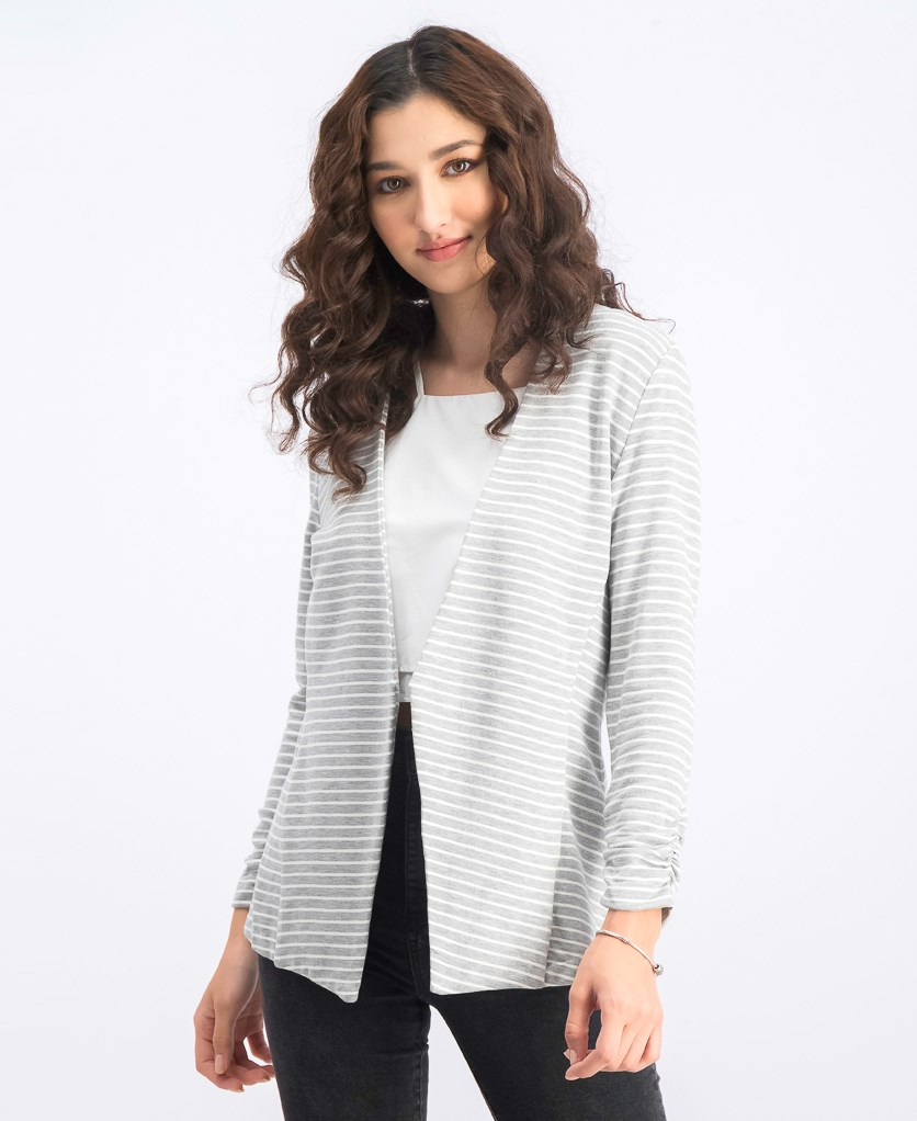 Women's Stripe Ruched Open-Front Cardigan, Heath Grey