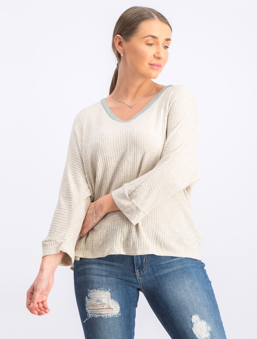 Women's 3/4 Sleeves Top, Beige