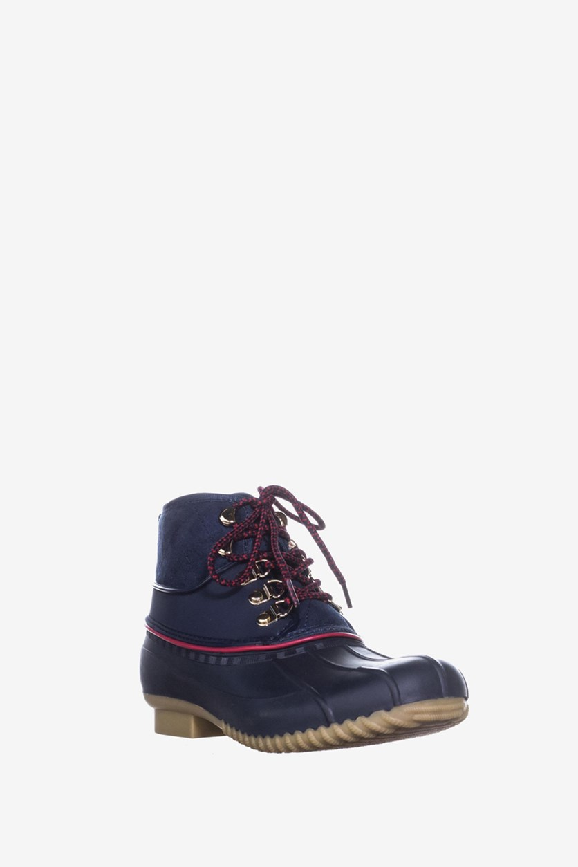 Womens Rinah Ankle Lace Up Rain Boots, Dark Blue
