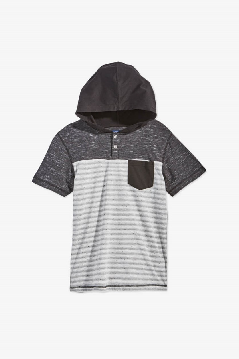 Boys Striped Henley Hoodie, Black/Grey/White