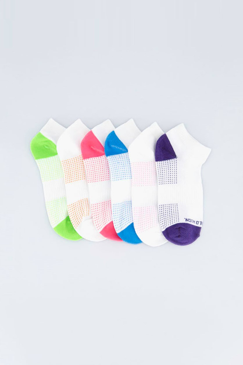 Kids Girl's 6 Pairs Low Cut Socks, White/Purple/Green/Pink