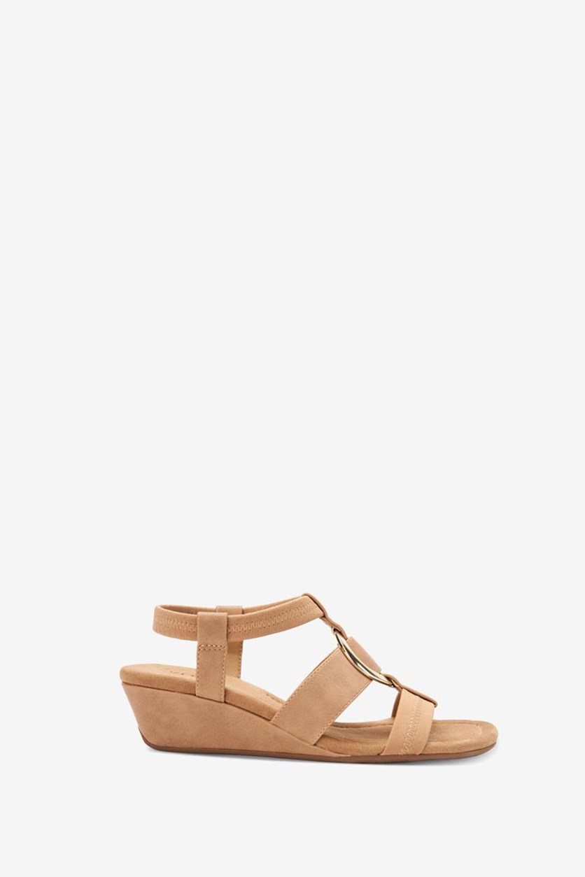 Vennice Open Toe Casual Slingback Sandals, Camel