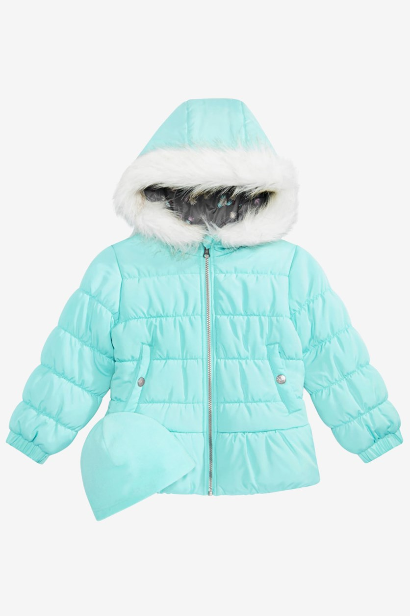 Kids Girls Quilted Puffer Jacket, Aqua