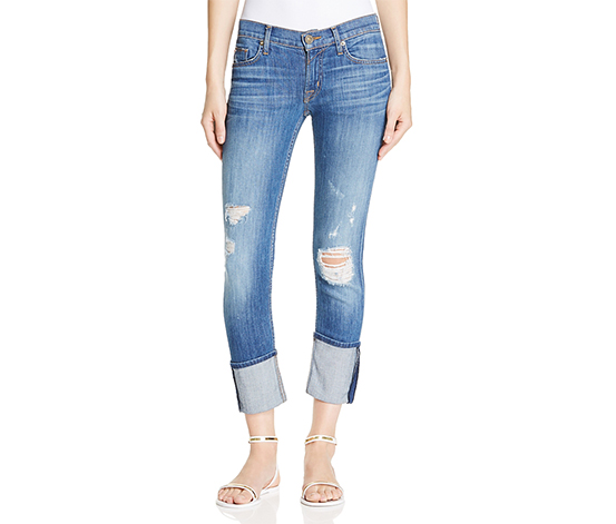 Hudson Women's  Crop Cuff Skinny Jeans in Hustle, Blue