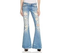 True Religion Women's Karlie Ripped Vintage Wash Bell Bottom Jeans, Blue/White