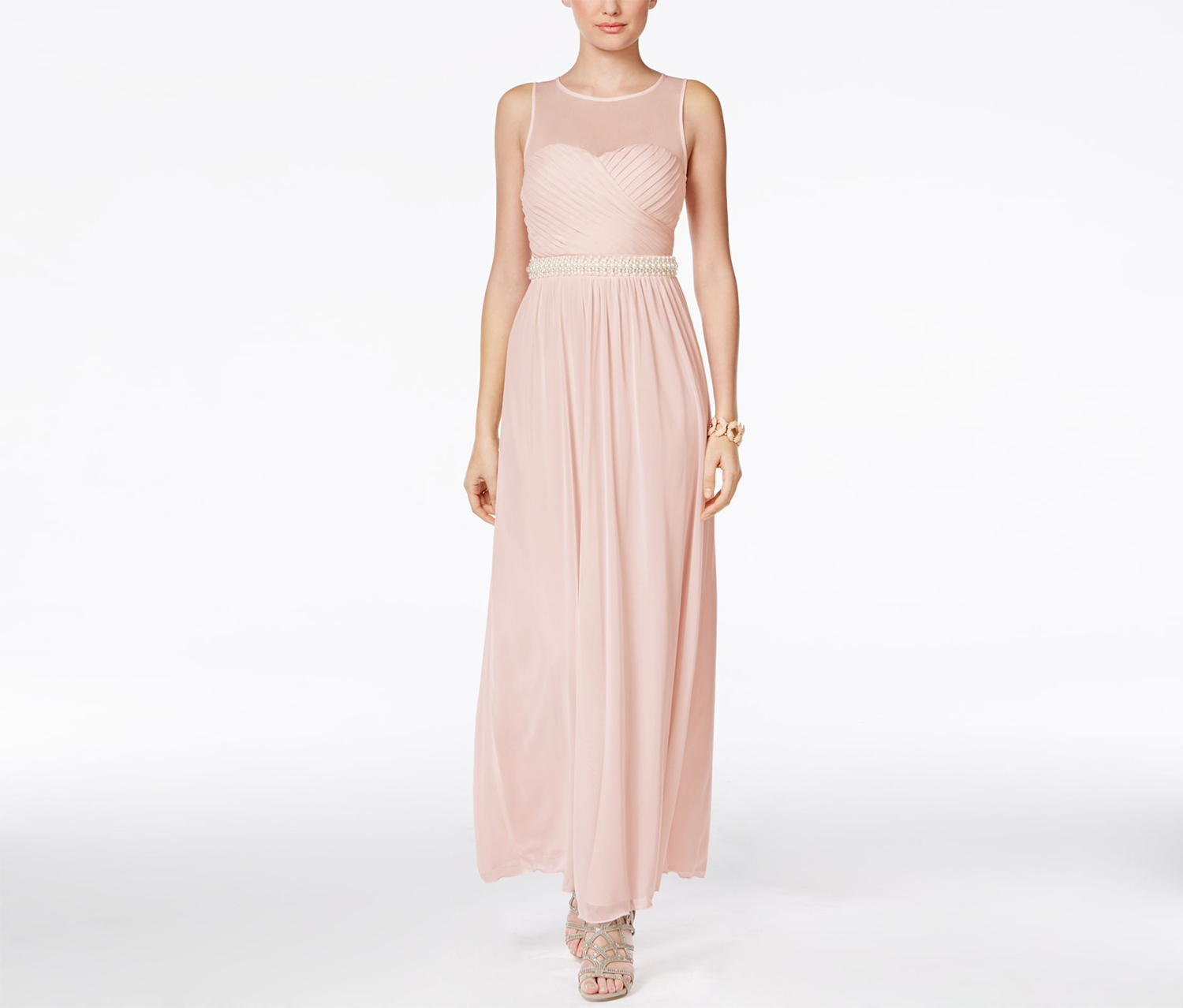 Speechless Juniors' Embellished Illusion Ruched Gown, Light Pink